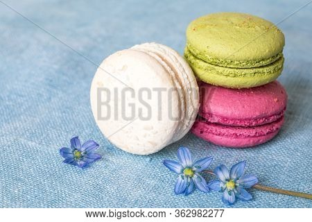 White, Pistachio And Purple Macaroons And Spring Flower On A Linen Napkin. Macarons Or Macaroons Is