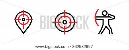 Set Of Aim Pin, Goal And Shooter Personal Targeting Icons. Editable Line Vector.