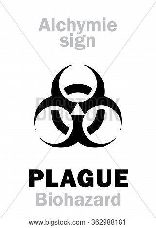 Astrology Alphabet: Plague (latin: Plaga / Pestis), Black Triple Moon, Three-horned Moon -- Hierogly