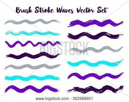 Graphic Brush Stroke Waves Vector Set. Hand Drawn Violet Cyan Grey Brushstrokes, Ink Splashes, Water