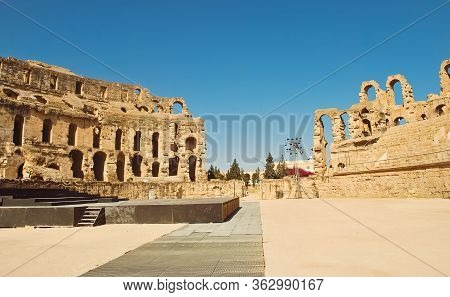Tunisia, Africa, El -djem - Julay 10, 2018, Ruins Of The Largest  Roman Colosseum In In North Africa