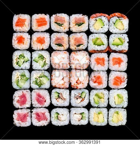 Sushi And Rolls Pattern Background, Japanese Restaurant Delivery Top View. Salmon, Unagi, California