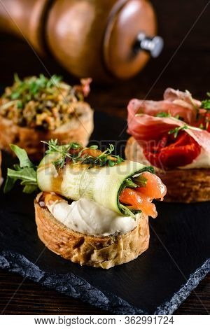 Italian Appetizer Crusty Bruschetta Delicious And Healthy Restaurant Meals, Copy Space, Closeup