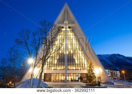 Tromso, Finmark / Norway - 2019: Arctic cathedral in Tromso, Christmas Time in Tromso, Norway