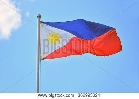 Pasay, Ph - Apr. 7: Philippine National Flag On April 7, 2018 In Pasay, Philippines. The Philippine