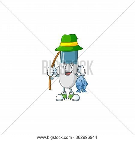 A Picture Of Vitamin Pills Fisher Mascot Design Catch A Fish