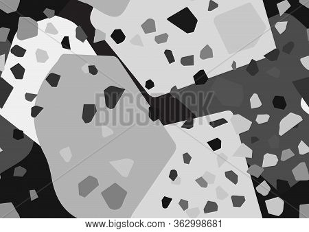 Abstract Monochrome Terrazzo Seamless Pattern. Black And White, Shades Of Gray Colors.