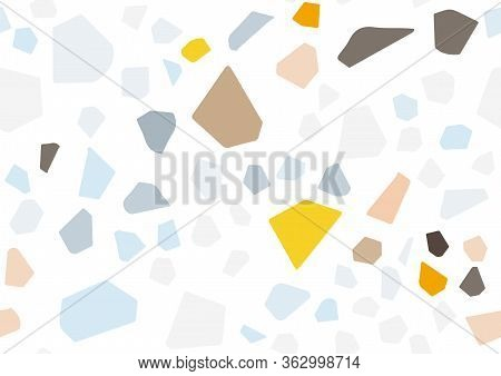 Abstract Flat Terrazzo Seamless For Textile Design. Seamless Background Pattern.