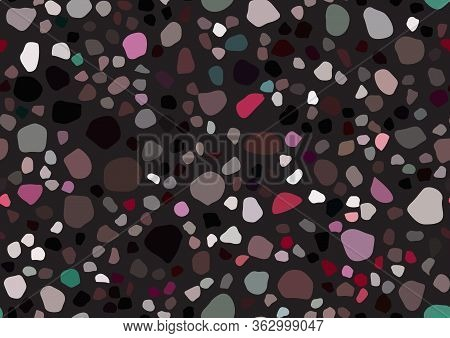 Abstract Vector Terrazzo Seamless Pattern For Textile Design. Vintage Fashion Illustration. Bright P