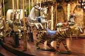 Mery-go-round carousel horses and tiger at night poster