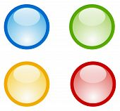 Four icons of orb in aqua design style. Blue green yellow/orange and red colors. Perfect as an icon/button template. poster