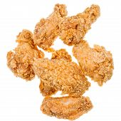 several hot fried chicken wings isolated white background poster