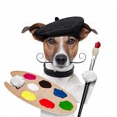 painter artist dog color palette and brush poster