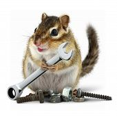 craftsman chipmunk with wrench on white background poster