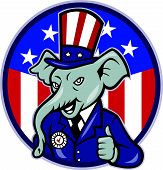 Illustration of a republican elephant mascot of the republican grand old party gop wearing hat and suit thumbs up set inside American stars and stripes flag circle done in cartoon style. poster