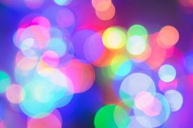 Colorful Abstract Blurred Circular Bokeh Light Of Night City Street. Color Abstract Background.