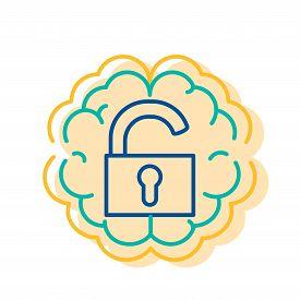 Unlock Lock Icon On Brain Extrovert Type Sign