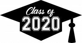 Class Of 2020 Inside Graduation Cap Banner Bw