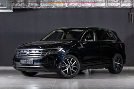 Novosibirsk/ Russia - March 09 2020: Volkswagen Touareg, Off-road Car, Front View. New Black  Modern