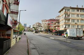 Istanbul - Apr 19, 2020: Empty Streets On Total Lockdown For All Due To The Corona Virus Pandemic At
