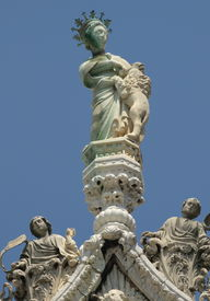 Statue On The Cathedral Top In Venice.