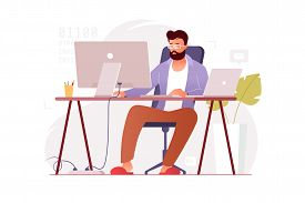 Programmer Works At Home At The Computer. Remote Work In The Home Office. It Specialist Freelancer.