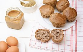 Keto Bread. Tasty Peanut Butter Ketogenic Buns, Homemade Bread With Eggs, Psyllium Husk And Butter.