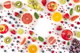 Fresh Summer Fruit Design, A Flat Lay On A White Background With A Place For Text, Vibrant Food Patt