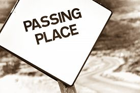 Passing Place Sign On Single Track Road In Highlands Of Scotland