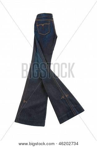 Ornamental Seamed Flared Blue Jeans