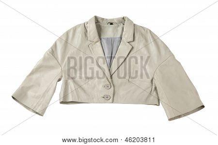 Grey Leather Bolero Jacket