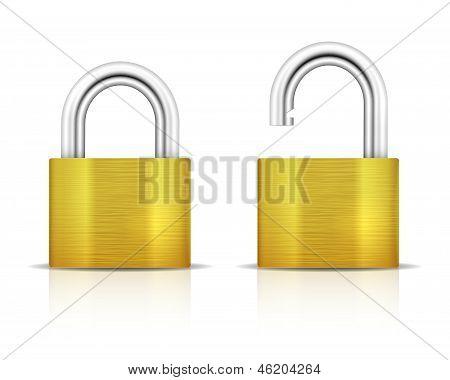 Metallic Padlock. Closed Lock Security Icon