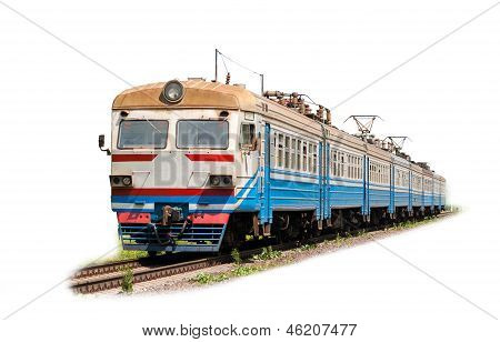 Suburban electric train on a white background poster