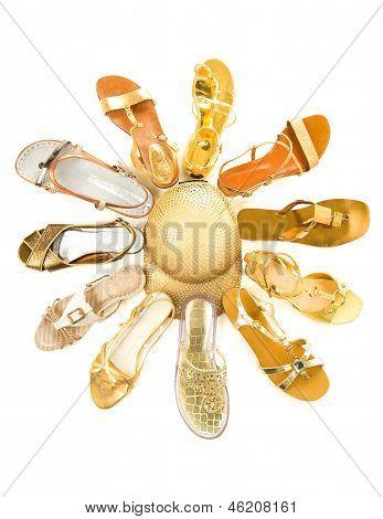 Sun Shaped Golden Sandals Still Life Fashion Composition