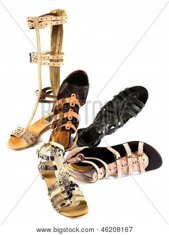 Roman Sandals Still Life Fashion Composition