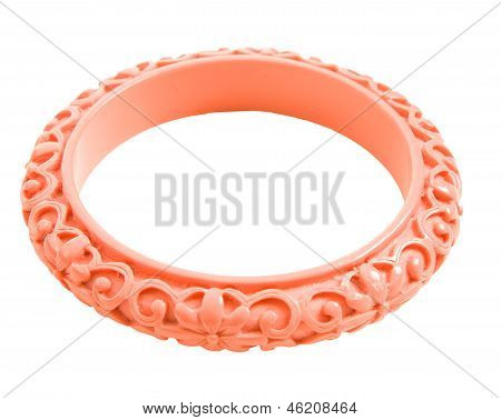 Pink Carved Flowers Bangle