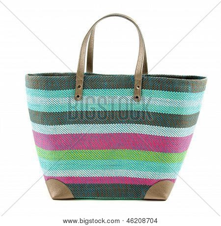Striped Colorful Woven Basket Tote