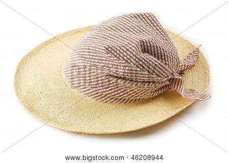 Raffia Picture Hat With Striped Bandana