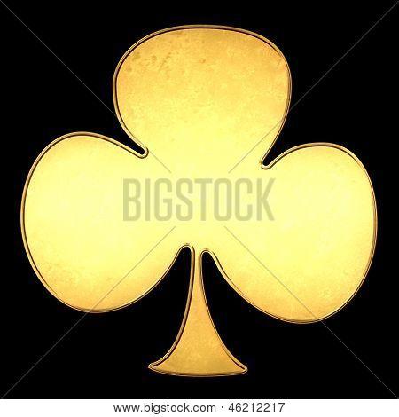 Club Poker Card Symbol Gold