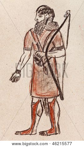 historical costume - Assyrian and Babylonian warrior archer under the bas-relief of Khorasan 7th century BC poster