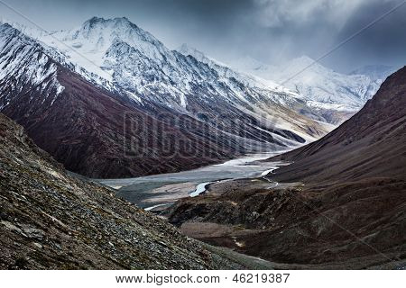 Severe mountains - Spiti valley, river, road in Himalayas. Himachal Pradesh, India