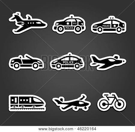 Set of sticky stickers, transport pictograms