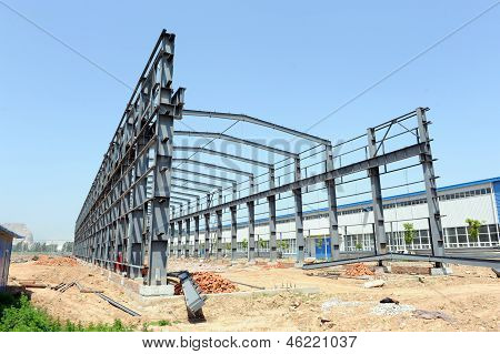 Steel frame structure building construction site