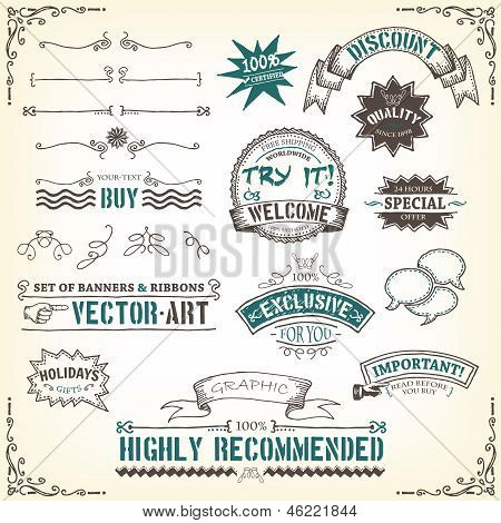 Doodles-banners-ribbons-and-awards