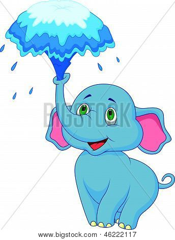 vector illustration of Cute elephant cartoon blowing water out of his trunk poster