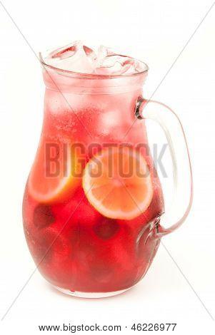 fresh lemonade from lemon and berries isolated