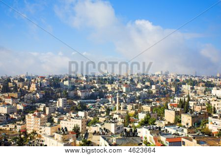 City panorama Jerusalem Israel and blue sky poster