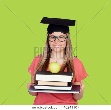 University with graduation cap and many books on green background