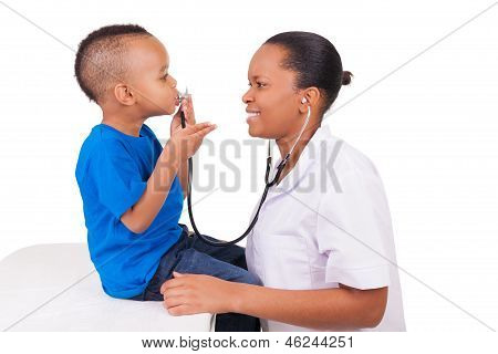 African American Woman Doctor With Child