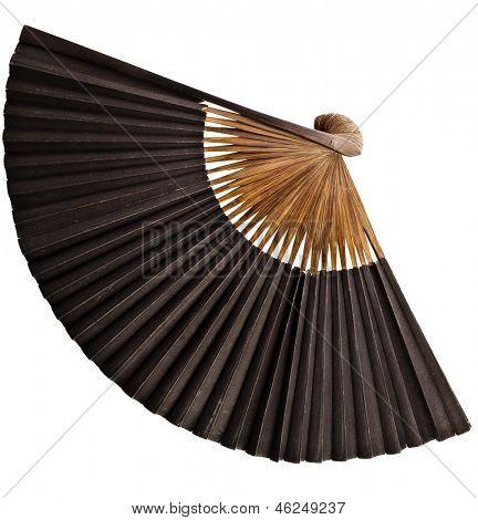 Single Antique Japanese Folding Fan Surface isolated on white background